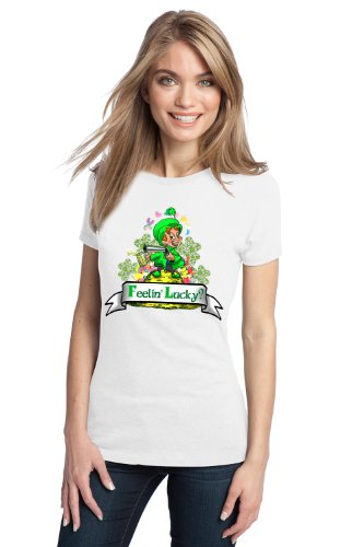 FEELING LUCKY? LEPRECHAUN Ladies' T-shirt / Lucky St. Patrick's Day Ireland Pride Tee