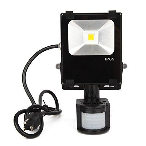Chichinlighting® 1-Pack 10W Pir Led Flood Light Cool White Pure Daywhite 6000K Floodlight Motion Sensor Bulb Lamp Lighting With Us Plug