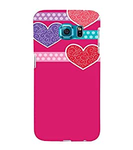 Pink Hearts Love Cute Fashion 3D Hard Polycarbonate Designer Back Case Cover for Samsung Galaxy S6 Edge :: Samsung Galaxy S6 Edge G925 :: Samsung Galaxy S6 Edge G925I G9250 G925A G925F G925FQ G925K G925L G925S G925T