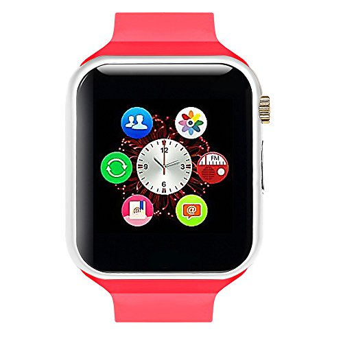 Lincass Smart Watch Bluetooth Fitness WristWatch with Camera Waterproof Smartwatch with Camera Pedometer Anti-lost Men Women Health Bracelet Watch for Apple iphone IOS Samsung Android Smartphone (Red)