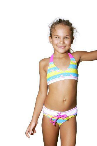 Hello Kitty Stripe Kitty Triangle Bikini - Little Girl (6X, TURYE)
