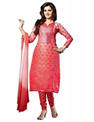 Pink Cotton Resham With Patch Patti Dress Material - B00U2GHQC2