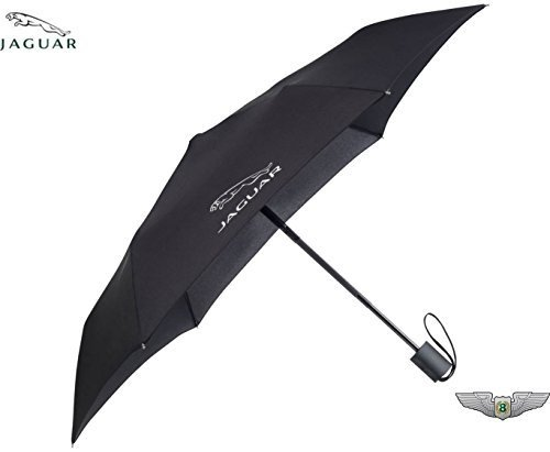 Jaguar Nuovo Originale Alluminio Nero Tasca Ombrello 50JUMAPB