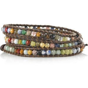 Chan Luu Wrap Bracelet Brown Leather Multi Beads 1289