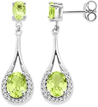 Byjoy 925 Sterling Silver Oval Shape Peridot Dangle Earrings BAE389E