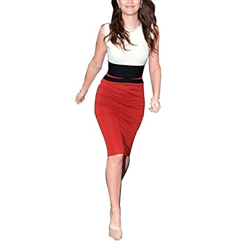 Janecrafts Women'S New Fashion Tunic Party Bodycon Color Block Tank Long Dresses (Xxl, White/Red)