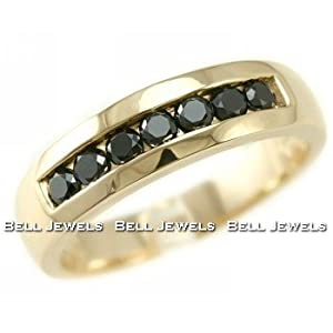 Click to buy Men's Fancy Black Diamond Wedding Band Ring 14k Yellow Gold Channel-Set from Amazon!
