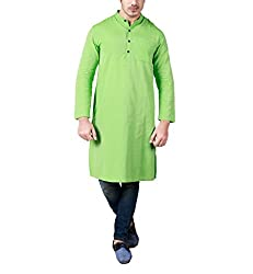 Dhrohar Lime Cotton Long Kurta