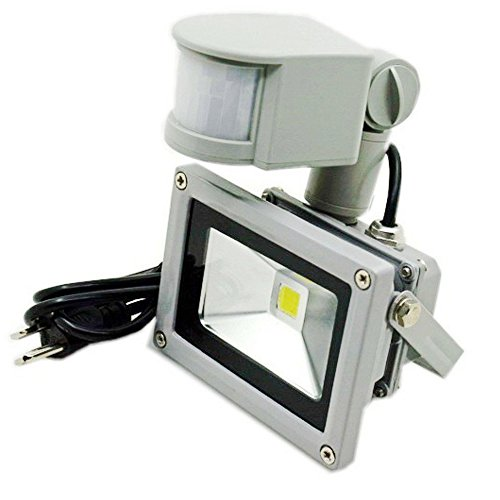 ZHMA 10W Motion Sensor Flood Light,US 3-Plug Outdoor LED Flood Lights,Smart PIR Outdoor Security Sufficient Wattage Floodlight ,700lm, 100W Equivalent Bulb, Basement Light,6000K Daylight White (Outdoor Floodlight Sensor compare prices)