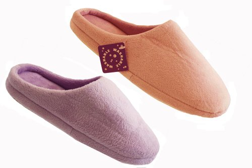 2 Pairs Ladies Washable Pink Lilac Mules Slippers UK Size Medium 5-6