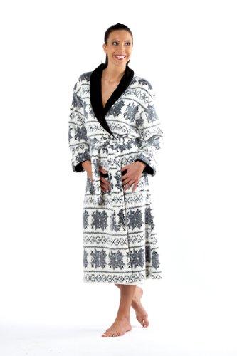 Ladies Selena Secrets Coral Fleece Dressing Gown Bathrobe M/L 14-16 Ivory