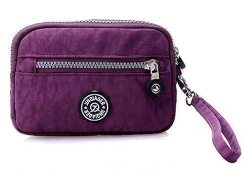 tiny-chou-dual-layers-zipper-purse-waterproof-nylon-wristlet-bag-clutch-handbag-cell-phone-pouch-pur
