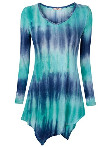 Timeson Womens T-Shirt Long Sleeve Round Neck Mixed Print Tunic Top Blouse with Irregular Hem Medium Blue (Tunic Tops For Juniors compare prices)