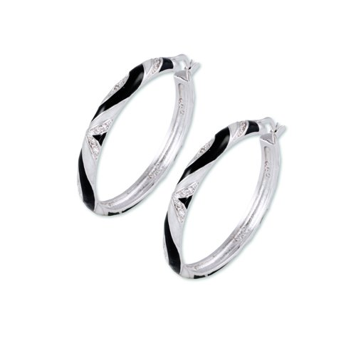 Rhodium 'nickel free' hoop earring with pearlized white and black enamel and (21) 1.5mm round white CZs
