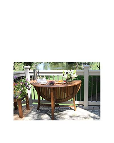Outdoor Interiors Eucalyptus 48″ Round Folding Table, Brown