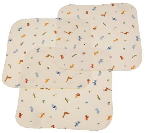 Carters Keep Me Dry Flannel Lap Pads, Ecru, 3 Count, Animal