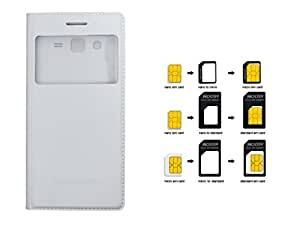 Combo Of SIM Card Adapter samsung Galaxy Grand 2/ 7102 Flip Cover Premium Quality Case Flip cover White colour For samsung Galaxy Grand 2/ 7102