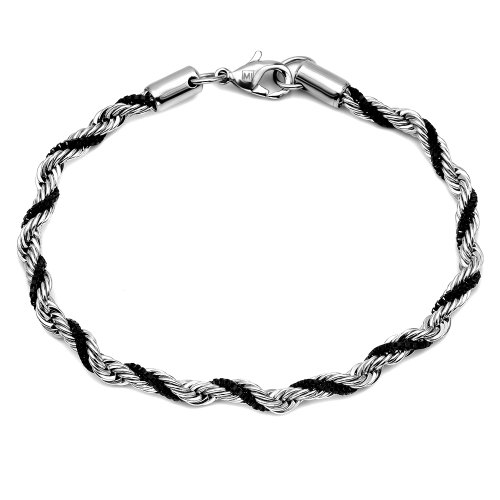 Stainless Steel Rope Chain with IP Black Plated Box Bracelet, 8