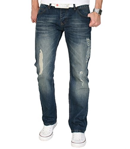SHIKOBA Herren Jeans Hose Vintage Destroyed Denim Blau Used Look SH-002 W40 L38