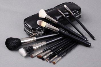 Eyes Face Lips on 12 Full Size Brush Set Kit Travel Bag Brushes Eyes Lips Face Cosmetic