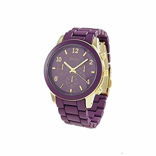 "The ""Boyfriend"" Watch. Large Sized Ceramic Designer Style Fashion Watch Purple Band Purple Face Gold Trim"