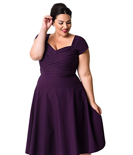 Justcosy Womens Classy Vintage Style Extra Plus Size Cap Sleeve Swing Party Dress XXXL Purple