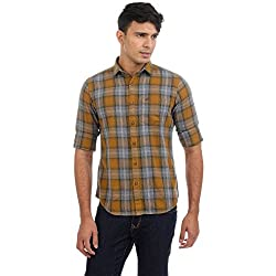 Sting Yellow Checked Slim Fit Cotton Casual Shirt