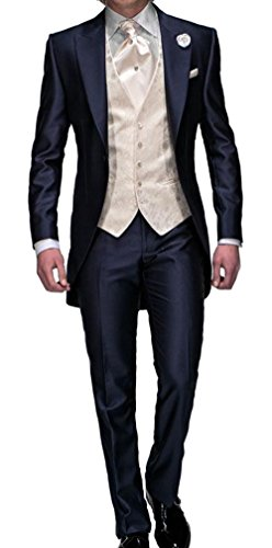 Lover Dress Slim Fit Navy Blue Tuxedos with Jacket Pants Tie Vest (M)