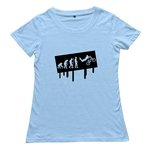 Zhitian Women'S Graffiti Evolution Bmx T-Shirt - M Sky Blue