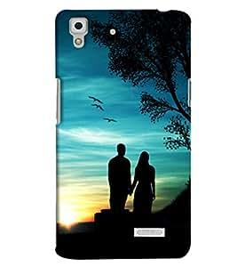 Omnam Couple Standing Near Treee Printed Designer Back Cover Case For Oppo R7
