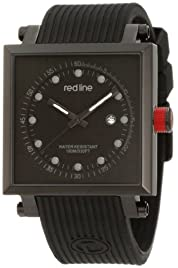 red line Men's RL-50035-BLK Compressor 2 Black Dial Black Silicone Watch