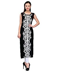 Accustyle Black Color Rayon Fabric Women's Straight Kurti