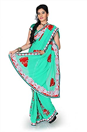 Designersareez Women Faux georgette Embroidered Turquoise Saree with unstitched blouse 1210  available at Amazon for Rs.1953
