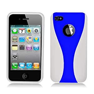 Aimo Wireless IPH4CDMAPCMX3IN1011 Guerilla Armor Hybrid Case for iPhone 4 - Retail Packaging - White/Blue