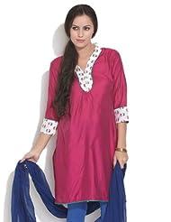 Juniper Women's Cotton Glossy Pop Of Paisley Pink Kurta