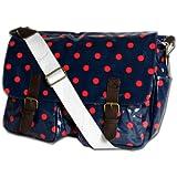 Ladies Polka Dot Oilcloth Messenger Cross Body Satchel Bag