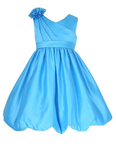Tea Length Satin Occasion Bridesmaids/Flower Girl Dress Turquoise Blue 12 Years (T6006-12#)