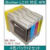 【ブラザー工業(BROTHER)対応】LC10 互換インクカートリッジ4色セット ブラック(20ml)/シアン/マゼンタ/イエロー(各15ml) 【2セット】 AV デジモノ パソコン 周辺機器 インク インクカートリッジ トナー インク カートリッジ ブラザー(BROTHER)用 [並行輸入品]