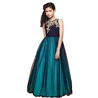 Fashion Storey Designer Navy Blue Chiffon Gown For Girls Clothing Accessories