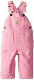 Carhartt Baby Girls\' Washed Microsanded Canvas Flannel Lined Bib Overall, Rosebloom, 9 Months