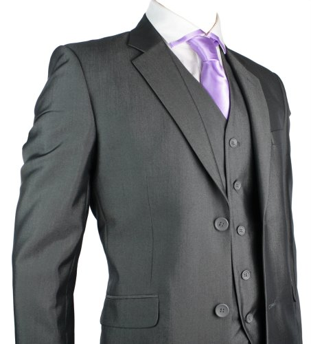 Mens Suit Black 3 Piece Work, Wedding or Party Suit *Regular* UK