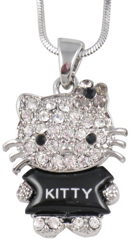 Beautiful Kitty Full Body Black Acrylic Crystal Rhinestone Pendant and Necklace with Gray Crystal Bow - Comes Gift Boxed