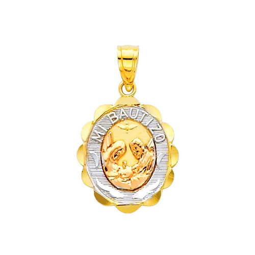 14K Tri-color Gold Religious Small Baptism Charm Pendant