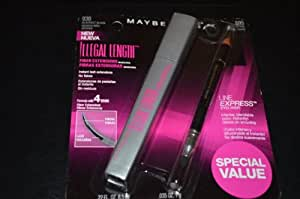 Maybelline~blackest Black 930~illegal Length Fiber Extensions Mascara+eyeliner