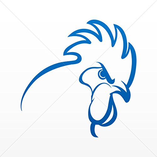 Decal Stickers Rooster Cockerel Gallus Head Tablet Laptop Weatherproof Blue Dark (30 X 29.5 In)