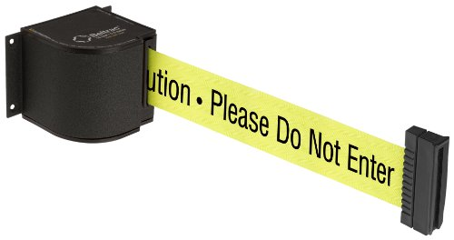 "Beltrac 18 ft Wall-Mounted Retractable Belt Safety Barrier, Wrinkle Black with ""Caution"" Belt"