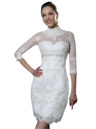 Vilavi Women'S Sheath Lace High Neck Short Wedding Dresses With Jacket 2 White