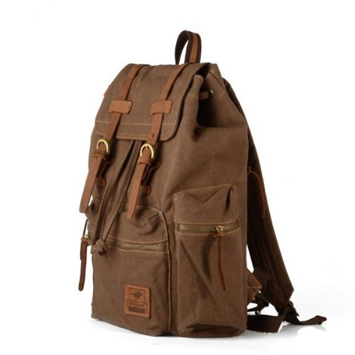 Generic Vintage Men Casual Canvas Leather Backpack Rucksack Bookbag Satchel Hiking Bag (Coffee) front-596439