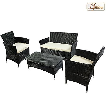 Homestyle-29171Set Lounge Jamaica Rattan, Steel Frame, nero