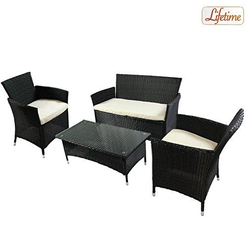 Lounge Set Jamaica Arredamento per Giardino Salottino in Polyrattan 4 pezzi struttura in acciaio ideale per esterno ( 2 poltrone + 1 panchina + 1 tavolo )
